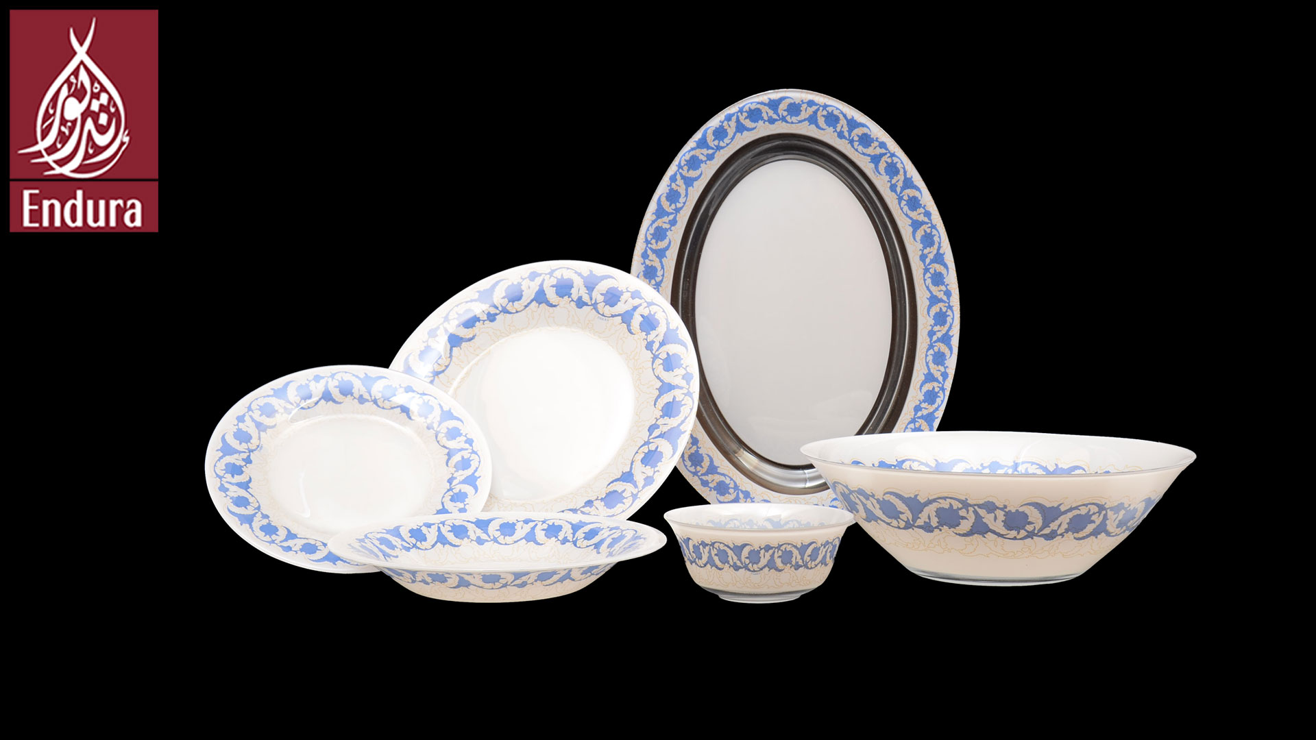 & Endura Damask Blue dinner set of 46#k6068#