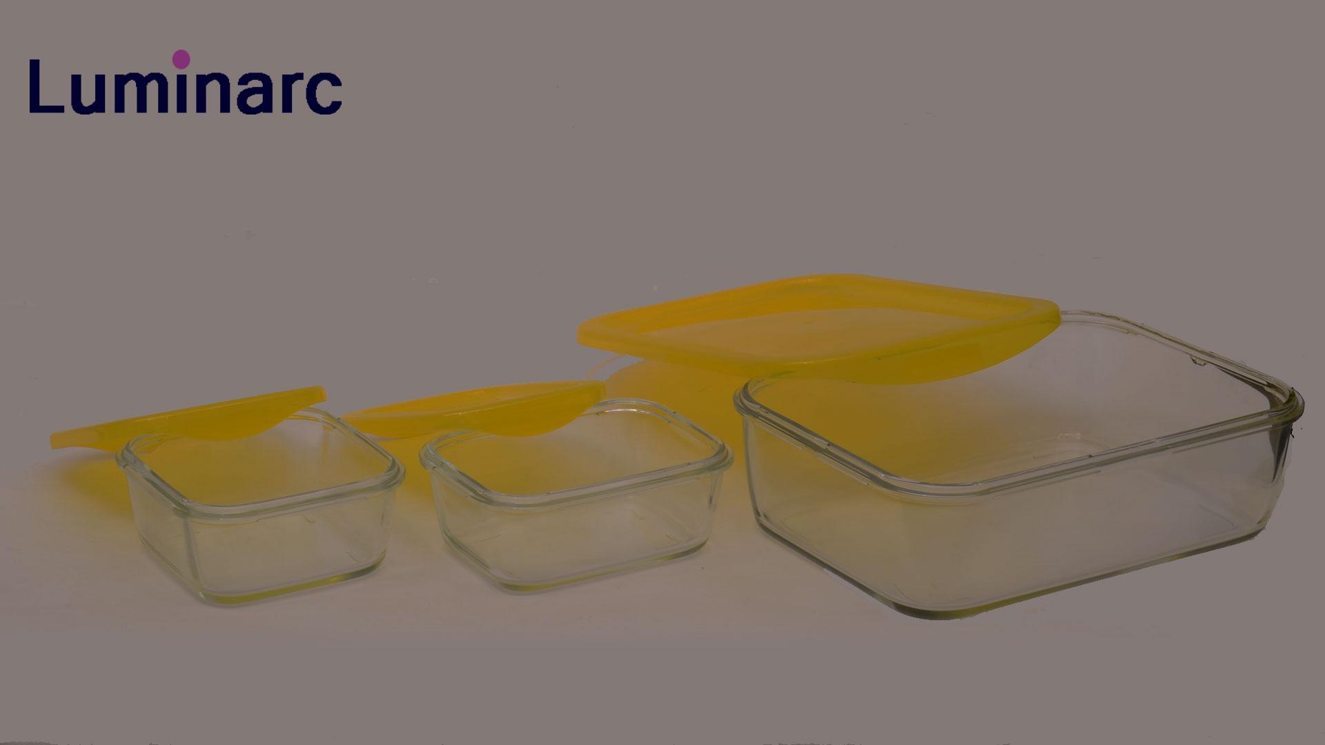Luminarc Yellow Keepu0027Nu0027box Rectangular U0026 Squared Glass Storage Box  Set#j5101#